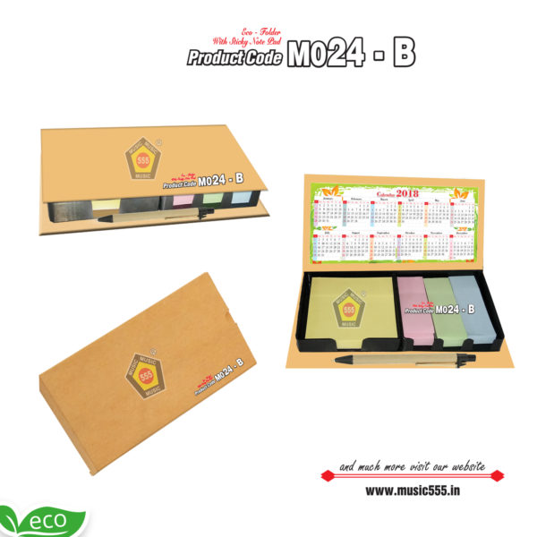 M024-B-Eco-Friendly-Foam-Folder-Color-Sticky-Note-Pad-music555-manufacturing-mumbai