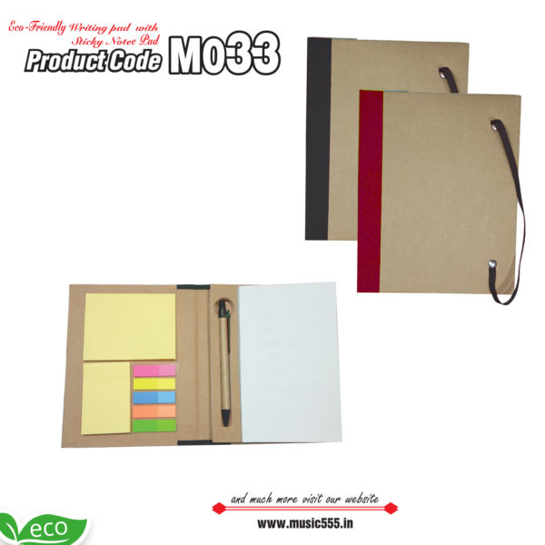 M033-Eco-Friendly-Writing-Pad-with-Sticky-Note-Pad-music555-manufacturing-mumbai