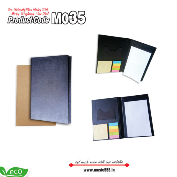 M035-Eco-Friendly-Writing-Pad-with-Sticky-Note-Pad-music555-manufacturing-mumbai
