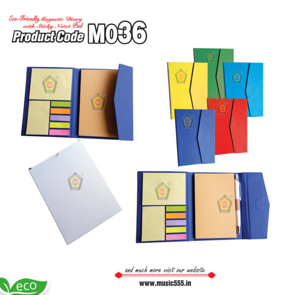 M036-Eco-Friendly-Magnetic-Diary-with-Sticky-Note-Pad-music555-manufacturing-mumbai