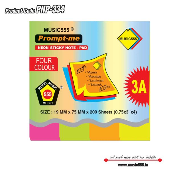 1×4-Four-Colour-Prompt-Me-Sticky-Note-Pad-Bharani-Industriesr-music555-manufacturing-mumb