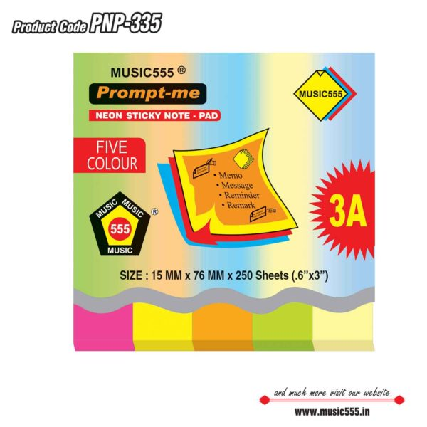 1×5-Five-Colour-Prompt-Me-Sticky-Note-Pad-Bharani-Industriesr-music555-manufacturing-mumbai
