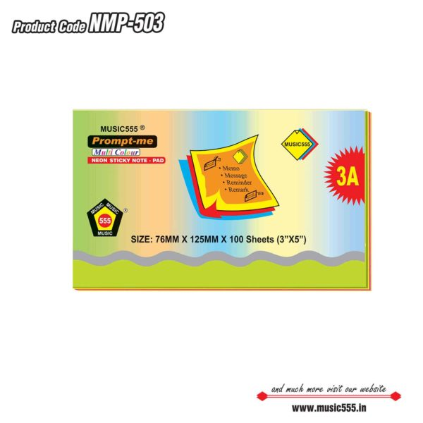 3×5-Prompt-Me-Neon-Multi-Sticky-Note-Pad-Bharani-Industriesr-music555-manufacturing-mumbai