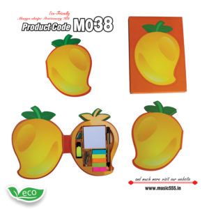 M038-Eco-Friendly-Mango-Shape-Stationery-Kit-music555-manufacturing-mumbai